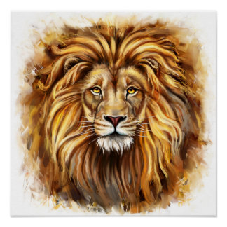 Artistic Lion Face Poster