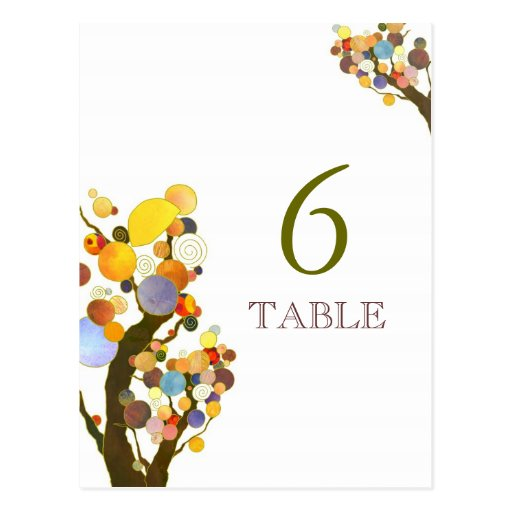 Artistic Love Trees White Wedding Table Number Post Card