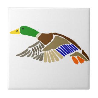 Artistic Mallard Duck in Flight Art Ceramic Tile