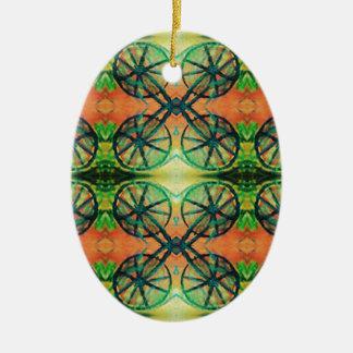 Artistic Modern Orange Green Vintage Bike Wheels Ceramic Oval Ornament