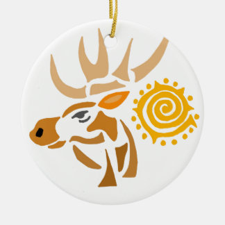 Artistic Moose and Sun Abstract Art Round Ceramic Ornament