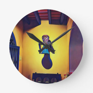 Artistic Mounted Bell Naive Of Church Round Clock