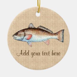 Artistic Natural Redfish Round Ceramic Ornament