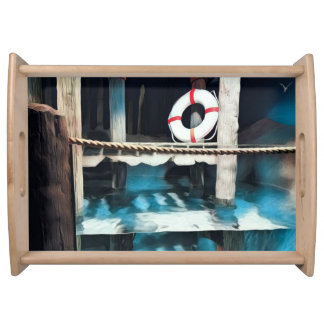 Artistic Nautical  Pier Life Preserver Serving Tray