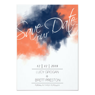 Artistic Navy and Coral Watercolor Save our Date Card