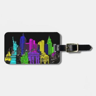 Artistic neon color New York Vegas Bag Tag