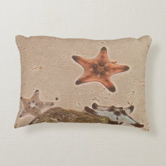 Artistic Neutral Tans Starfish On Sand Decorative Pillow