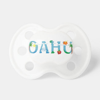 Artistic Oahu Hawaii word art baby pacifier