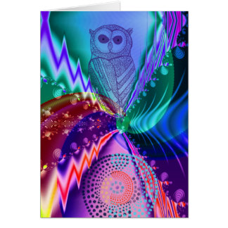 Artistic Owl custom birthday text Card