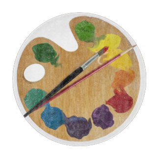 Artistic palette brushes Color wheel Cutting Board