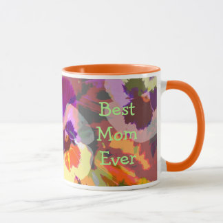 Artistic Pansies Custom Text Mother's day mug