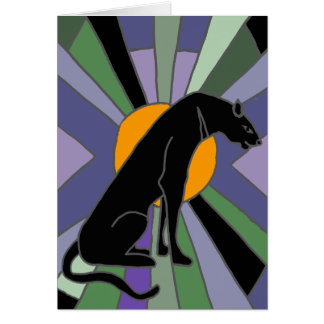 Artistic Panther Cat Art Deco Design Card