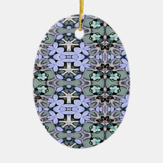 Artistic Pastel Green Periwinkle Abstract Pattern Ceramic Ornament