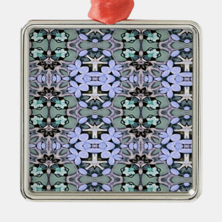 Artistic Pastel Green Periwinkle Abstract Pattern Metal Ornament