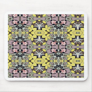 Artistic Pastel Yellow Dusty Rose Abstract Pattern Mouse Pad