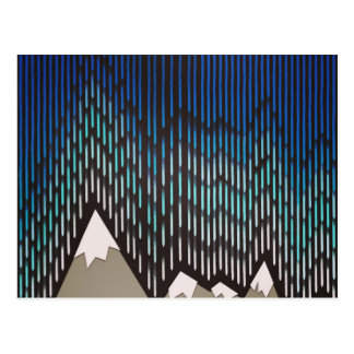 Artistic Pattern Blue Rainy Shaped Mountains Print Postcard