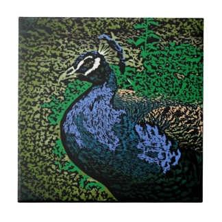 Artistic peacock decorative ceramic tile
