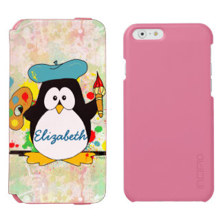 Artistic Penguin Painter Personalize Incipio Watson™ iPhone 6 Wallet Case