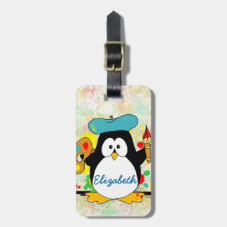 Artistic Penguin Painter Personalize Luggage Tag