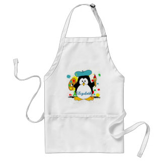 Artistic Penguin Painter Personalize Standard Apron