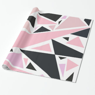 Artistic pink black abstract triangles pattern wrapping paper