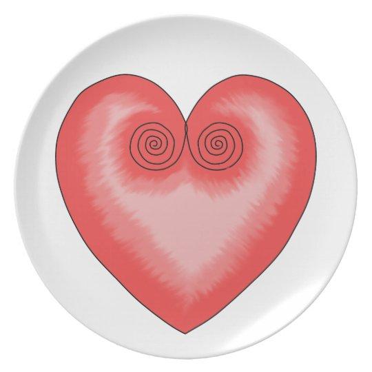 Artistic Pink Heart / Love Melamine Plate