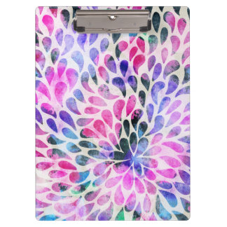 Artistic pink teal black watercolor water drops clipboard