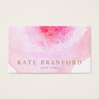 Artistic Pink Watercolor Large Floral Art Business Card