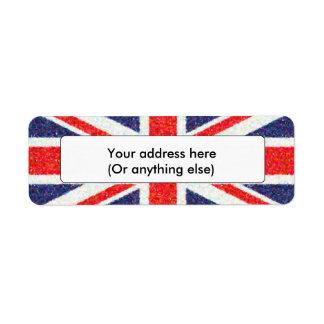 Artistic Pointillist UK Union Jack Flag Return Address Label