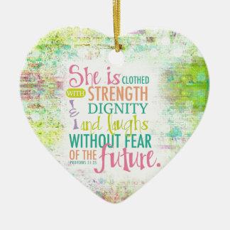 Artistic Proverbs 31:25 Ceramic Heart Ornament