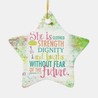 Artistic Proverbs 31:25 Ceramic Star Ornament