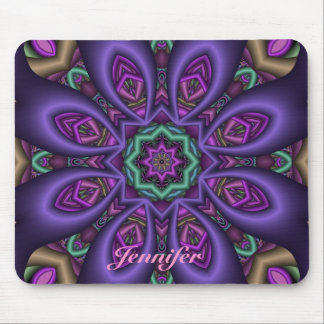 Artistic Purple fantasy Flower & Name Mousepad