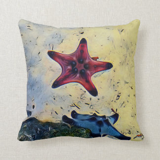 Artistic Red Blue Starfish On Sand Throw Pillow