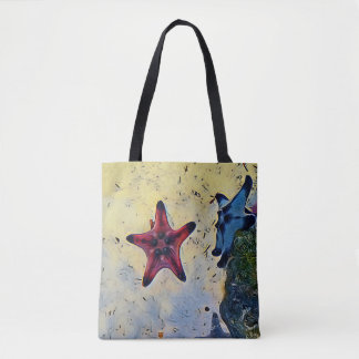 Artistic Red Blue Starfish On Sand Tote Bag
