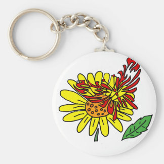 Artistic Red Butterfly on Yellow Daisy Flower Basic Round Button Keychain
