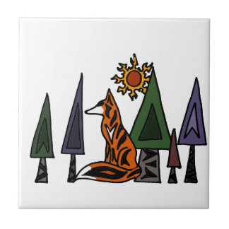 Artistic Red Fox in the Forest Art Ceramic Tiles