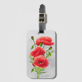 Artistic Red Poppies Luggage Tag