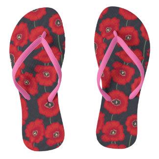 Artistic Red Tullips Flowers Black FlipFlops Flip Flops