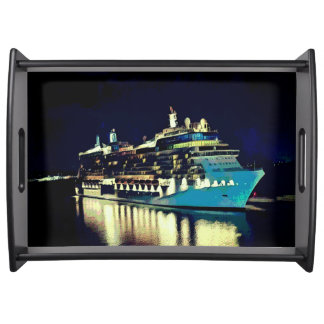 Artistic Reflective Water Cruising At Night Serving Tray