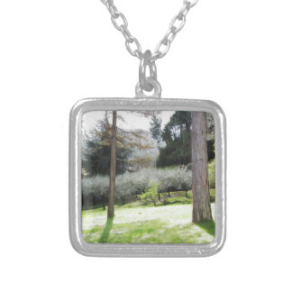 Artistic representation of tuscan countryside silver plated necklace