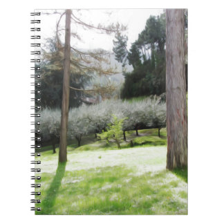 Artistic representation of tuscan countryside spiral note books
