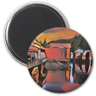 Artistic River Through Town Water Reflection 2 Inch Round Magnet