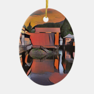 Artistic River Through Town Water Reflection Ceramic Ornament