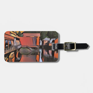 Artistic River Through Town Water Reflection Luggage Tag