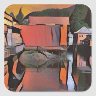 Artistic River Through Town Water Reflection Square Sticker