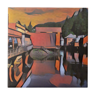 Artistic River Through Town Water Reflection Tile
