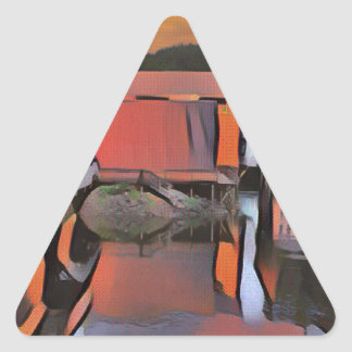 Artistic River Through Town Water Reflection Triangle Sticker