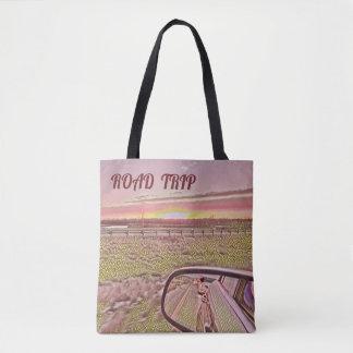 Artistic Road Trip Horizon Sunrise Landscape Tote Bag