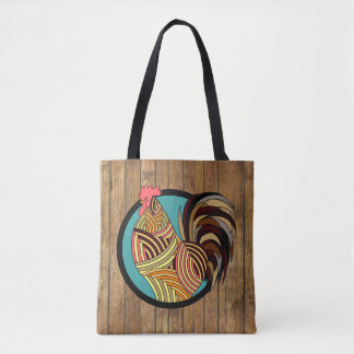 Artistic Rooster and Barnwood Monogram Tote Bag