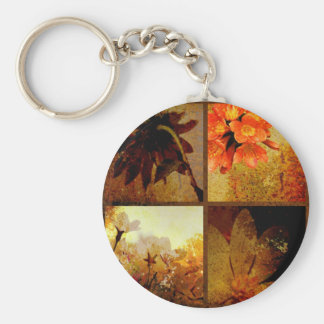 Artistic Rustic Floral Basic Round Button Keychain